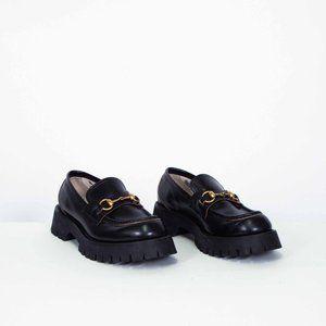 Gucci Black Leather Lug Sole Horsebit Loafers